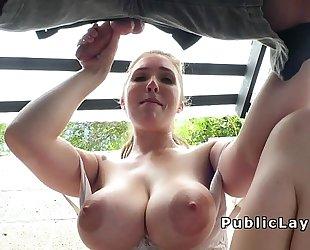 Amateur with natural giant marangos outdoor fucking