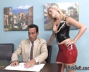 Mistress makes her serf cum on her feet