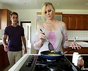 Orally gratified milf team-fucked by her stepson