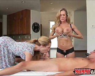 Taylor whyte and brandi love sharing penis on massage table