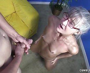 Horny granny receives splattered