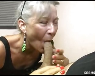 Slutty granny oral stimulation