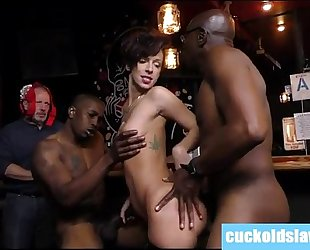 Busty white hotwife violated by two giant dark dongs