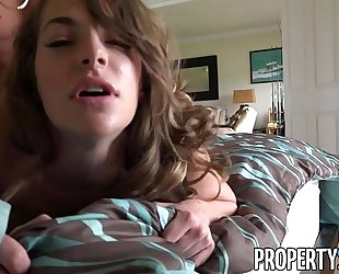 Propertysex - sexy real estate agent flirts with client and copulates his large knob