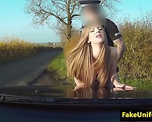 Uk chick fucked into ass by uniformed cop outdoors