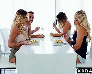 Couple with lesbo housemates end up in a hawt foursome