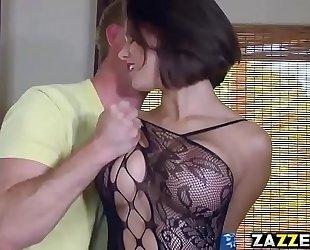 Peta jensen gives a sneaky deep mouth oral-stimulation