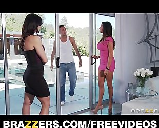 Two big-tit dark brown milf's entice and fuck their poolboy