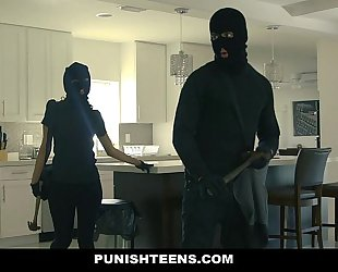 Punishteens - large arse thief manacled and screwed