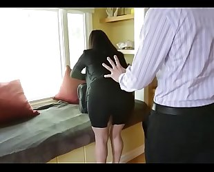 Sophie dee's love melons distract her boss from work!