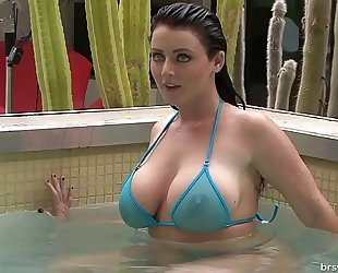 Soaking moist sheer micro bikinis