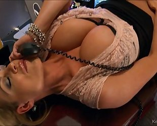 Busty kelly madison has hawt phone sex in her office