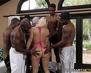 Aj applegate receives banged and butt drilled by dark fellows