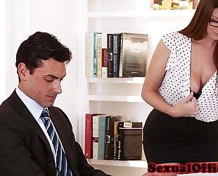Busty secretary getting screwed on table