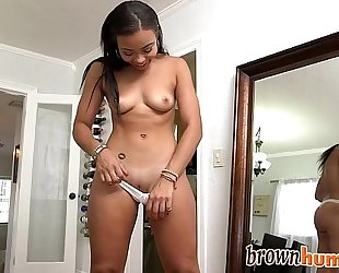 Sexy brown bunny receives her constricted muff smashed