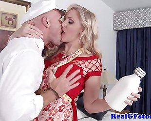 Mature golden-haired white wife titfucks the milkman