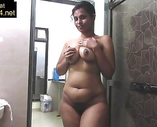 Mature indian mamma pressing large desi billibongs in shower masturbation