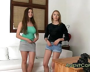 Two sexy amateurs drilled on casting