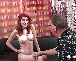 Busty french redhead honey unfathomable anal screwed with cum on a-hole for her casting ottoman