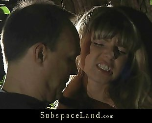 Doris ivy bound up by a tree and spanked