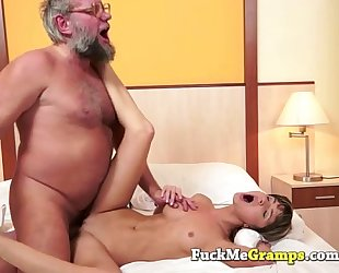 Petite cheating wife drilled by large older man
