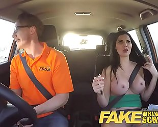 Fake driving school breasty examiner passes excitable youthful stud on his test