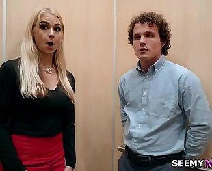 My boss' angry horny white wife sarah vandella bonks me in the elevator