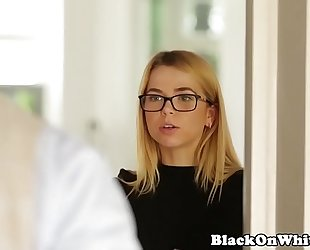 Interracial diminutive student throating bbc