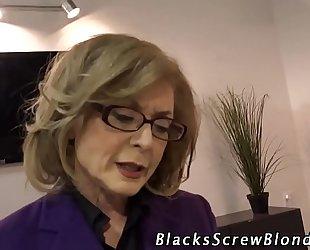 Old cheating wife rides dark knob