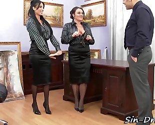 Glam office women cumswap