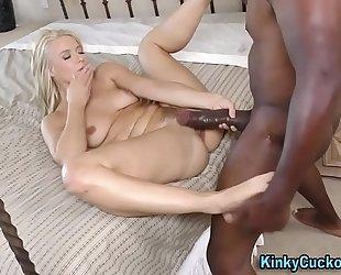 Babe rides large dark ramrod