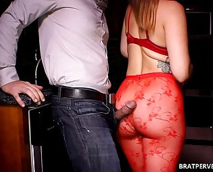 Ass grinding in her red tighs