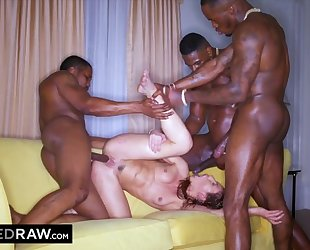 Hot chick with natural breasts screwed by three horny black stallions