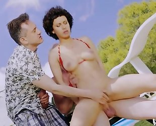 Nymphomaniac Russian chick with big naturals gets banged outdoors