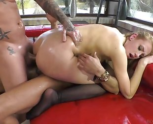 Two spunky brunettes get their eager holes fucked balls deep