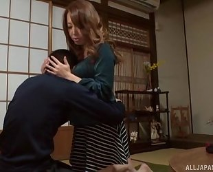 Sassy Japanese babe with fine tits pleasuring lucky guy in POV
