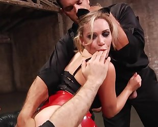 Lusty pornstar with big ass gets fucked hard by 2 horny studs