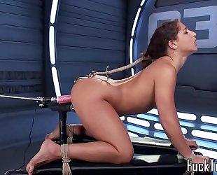 Restrained hottie wet crack toyed by sex-toy machine