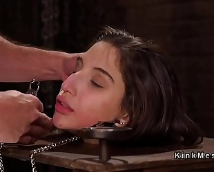 Brunette sub in pillory acquires anal team-fucked
